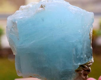 300 Gram Damage Free Aquamarine Crystal with Muscovite Mica from Nagar Gilgit Pakistan - 74*66*46 mm