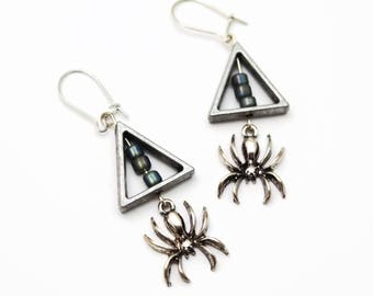 Spider Earrings, Geometric Hanging Earrings, Rocker And Goth Chic Jewelry, Edgy Silver Tone, Halloween Earrings, Spider Jewelry