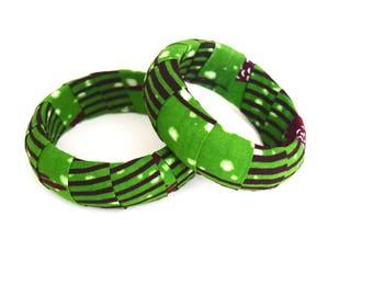 2 Handmade African Fabric Bangles, Handmade Bangles, African Print Bangles, African Bracelets, Bracelets Africains, African Print Bracelets