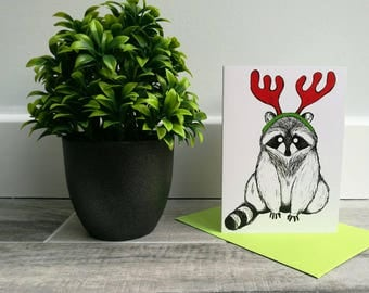 A6 Raccoon Christmas Card - christmas - raccoon - greetings card - illustration - art