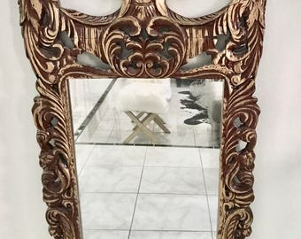 VINTAGE CHINOISERIE MIRROR, Solid Monkey Pod Wood Mirror, Hand Painted Gold & Wood Chinoiserie style mirror.