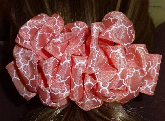 Becky Bows ~  Barrette ribbon Hand crafted  BIG hair bow Women or Girls peach white scroll design