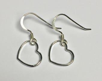 Sterling Silver (925) Heart Drop Earrings