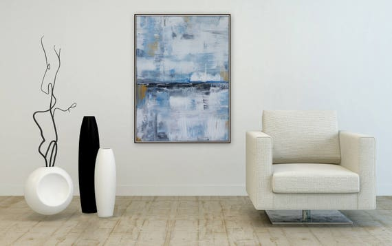 Large abstract painting blue white black and gold wall art Marcy Chapman artwork