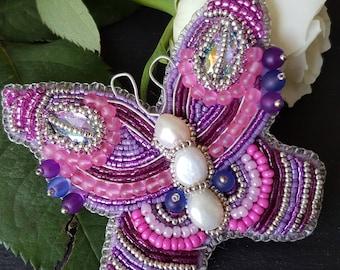 Purple wings brooch