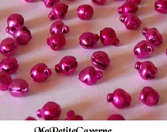 Set of 10 bells fuschia pink