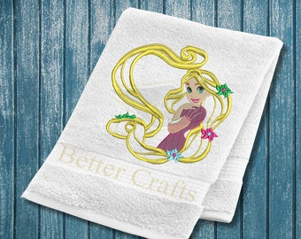Applique Rapunzel, Tangled, Machine Embroidery Applique Design, Rapunzel Embroidery Design