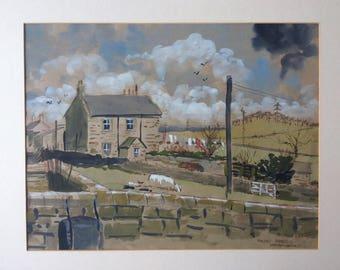 "C1970s Leslie J West 16"" x 12.5"" Mounted Watercolour Cottage Landscape Painting Halton Shields Northumberland, North East England"
