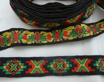 """Vintage Embroidered Ribbon Trim - Red, Green and Yellow Design on Black Background - 3/4"""" Wide X 3 + Yards"""