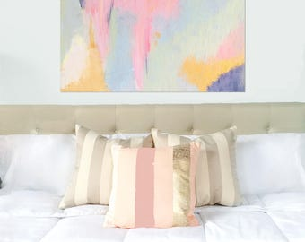 Pastel Abstract Nursery Painting // Blue Pink Rose Gold Navy Artwork // Pretty Wall Art // Girls Abstract // Original Artwork 11x14 16x20