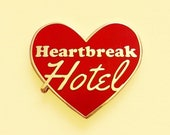 Red heart break hotel enamel pin