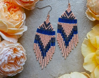 Blush Pink Native American Beaded Earrings / Fringe Earrings / Blue / Statement Jewelry / Shoulder Duster / Boho Style / Woven Earrings