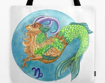 Capricorn Tote Bag, zodiac, star signs, astrology, blue and green, goat,  book bag, beach bag, pool tote, gift for her