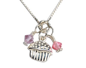 Sterling Silver Cupcake Cluster Charm Necklace with Freshwater Pearl and Swarovski Crystal with Gift Box  (BCN-Cupcake Cluster)