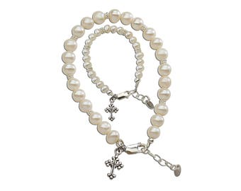 Sterling Silver Mom and Me Bracelet Set with Matching Cross Charms comes in a Gift Box for Mother's Day Gift (MMC-FWP)