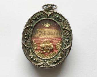 19th Century Relic Reliquary Queen of Angels Locket Saint Marien Wax Sealed Locket