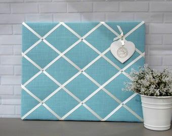 Unique Mothers Day Gift | Blue | Shabby chic | Linen | Fabric | Memo board | Noticeboard | Bulletin board | 40 x 50cm