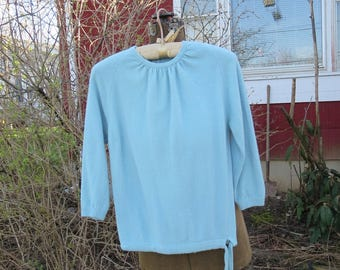 "Vintage 1950s blue sweater Colebrook Angolamb 3/4 sleeves drawstring waist wool nylon 33"" bust 28"" waist (11417)"