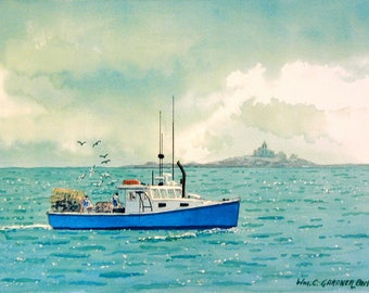 "Lobster Boat near Bar Harbor - Watercolor limited edition print 11"" x 14"" ocean sky fishing"