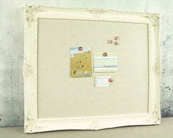 Framed magnetic board - shabby chic board - bulletin board - antique white frame
