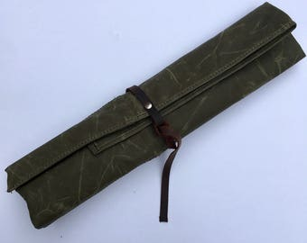 Knife Roll Waxed Canvas, Army Green with Oiled Leather Tie Closure, Water Repellant, Treated Canvas Chef's Knife Roll