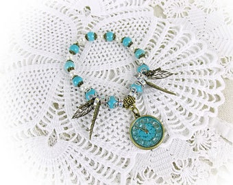 Bracelet turquoise Beads Angel Beads Bracelet Stretch