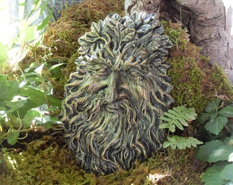 Greenman Statue,Celtic Greenman,The Spirit of Greenman,Nature Spirit Greenman Wall Plaque,Tree Spirit Statue,Woodland Plaque,H & L