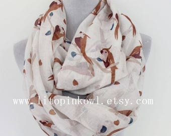 White parrott with heart infinity scarf, bird scarf, Gift For Her, Christmas Present, Christmas Gifts, For Her, For Women, For Mom