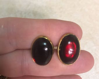 Vintage ruby colored SWANK cufflunks goldstone