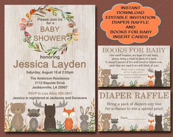 Woodland Baby Shower Invitation, Editable Invitation, Books for Baby card and Diaper Raffle card, You edit invitation, instant download 016