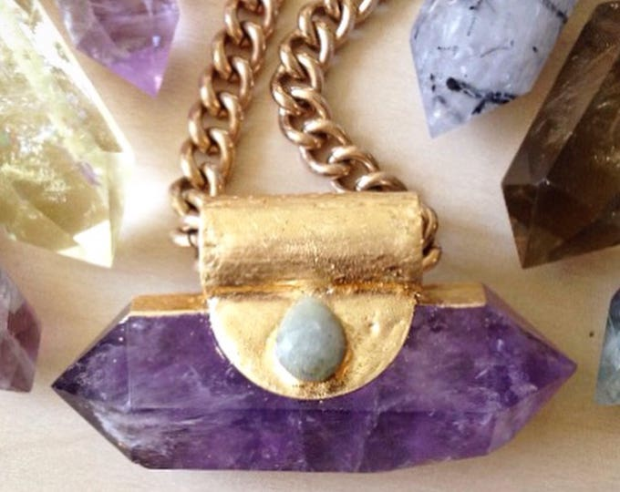 Amethyst Wand with Moss Agate Necklace