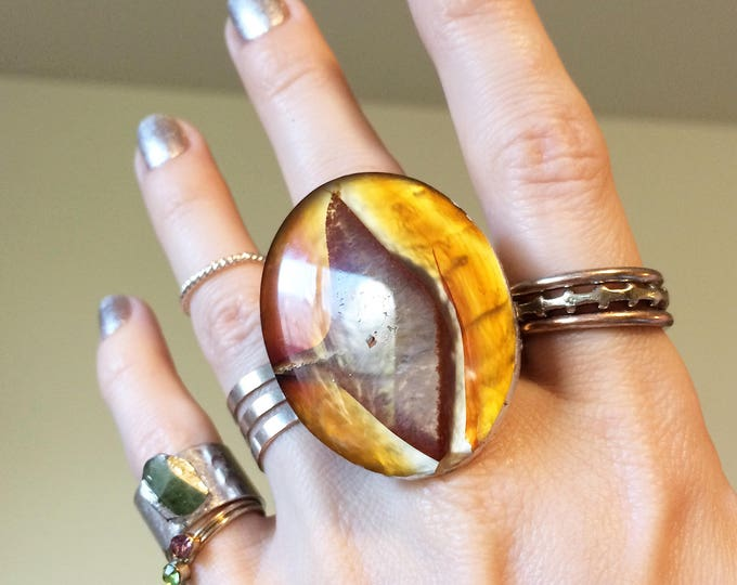 Red Agate Stainless Steel Ring, size 8.5