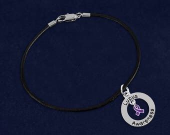 Lupus Awareness Black Leather Cord Bracelet in a Gift Box (1 Bracelet - Retail) (RE-BC-126-4LU)