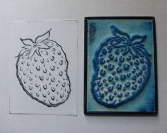 French Rubber Stamp on Metal Back, Ink Stamps, La Fraise, Strawberry. Circa 1950's