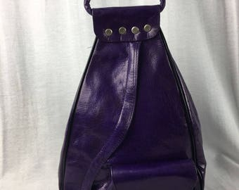 Handcrafted Leather Backpack Purse Purple