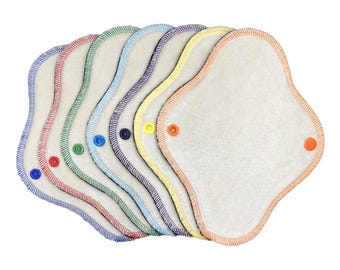 "Set of 7) 8"" bamboo velour cloth panty liners"
