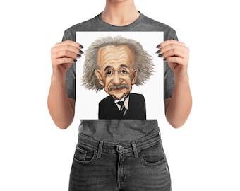 Albert Einstein photo paper poster, Einstein art, Einstein caraciture, original einstein caricature