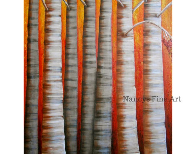 birch tree wall art, fall colors artwork, tree painting, forest art, original painting by Nancy Quiaoit.