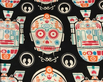 Star Wars Fabric 1.5 yards, R2D2 and C-3PO Sugar Skull, 1 and 1/2 yards