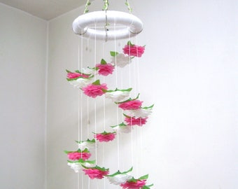 Flower Mobile Nursery,Baby Mobile,Hanging,Girl,Boy,Floral Crib Mobile,Baby Shower decor,Wedding Chandelier,Birthday Gift,Spiral,Art,Pink