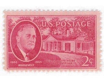 10 Unused Vintage Postage Stamps - 1945 2c F.D.R. and Little White House - Item No. 931