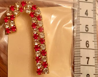 """Small Candy Cane """"Bling"""" Pin/ Brooch"""