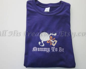 Halloween Maternity Shirt Sweatshirt Mummy To Be, Maternity Shirt Tops Clothes, Embroidered Maternity Tops, Mummy To Be Maternity Halloween
