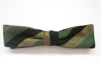 Vintage Wembley Clip On Skinny Bow Tie Green and Black Stripe Mid Century