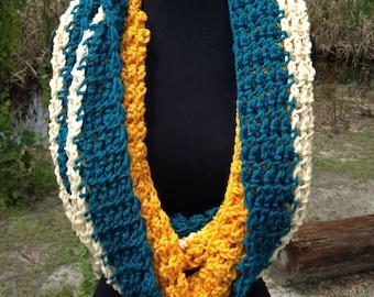 Turquoise, Cream & Mustard Infinity Scarf