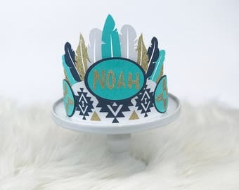 Boho Topper, Boho Decorations, Indian Chief, Wild One Birthday, Feather Crown Cake Topper, Boho Baby Shower, Tribal Baby, Pow Wow Decoration