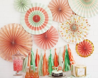 Coral and Mint Paper Fans -Paper Pinwheels -Paper Medallions -Pinwheel Backdrop -Paper Rosettes -Mint Wedding -Coral Wedding -Gold - PLTR01