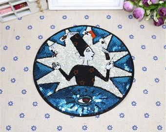 women sequined applique patch Paillette vintage patch T-shirt or Coat decoration patch applique