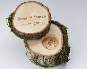 Personalized wood ring box with moss, ring bearer pillow,  rustic wedding ring holder, rustic wedding decor, engagement ring box,