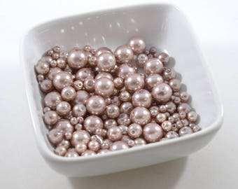 Smoke Pink Glass Pearls in Four Sizes